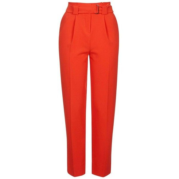 9bcb751d Topshop Belted Peg Trousers ($75) ❤ liked on Polyvore featuring pants,  capris, pleated trousers, topshop pants, red crop pants, tapered pants and  pleated ...