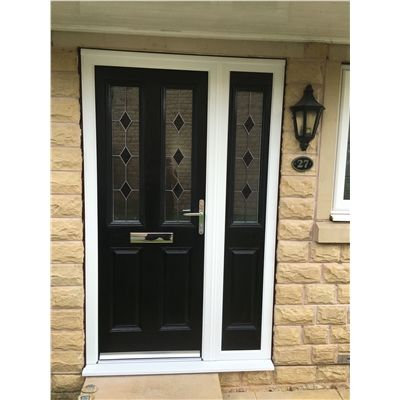 The Cardiff Composite Door In Black With Black Diamonds And Matching Side Panel Composite Front Door Composite Door Front Door