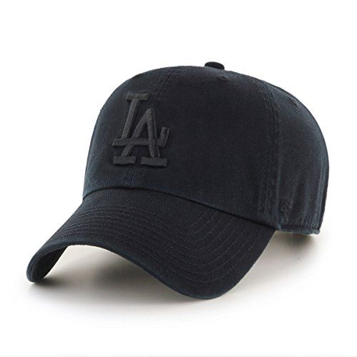 47 Brand Los Angeles Dodgers Clean Up MLB Strapback Hat Cap All Black Black 5717788d2b78