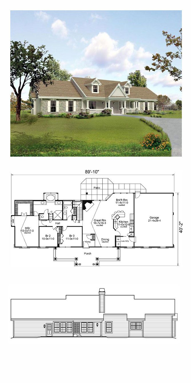 Traditional Style House Plan 95806 With 3 Bed 2 Bath 3 Car