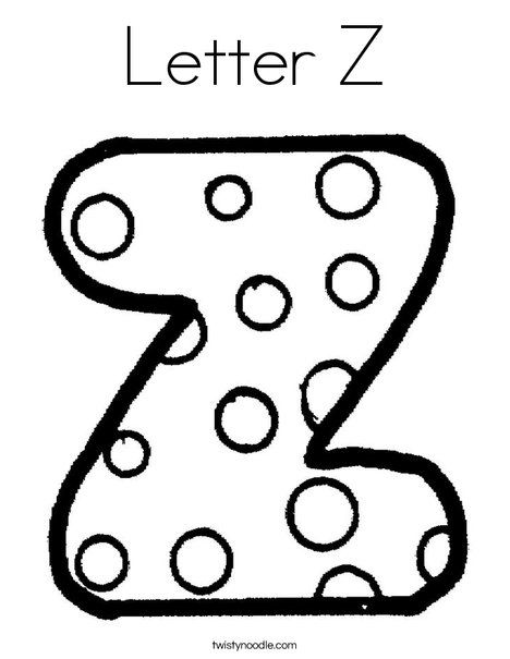 Letter Z Coloring Page Twisty Noodle My Abc S