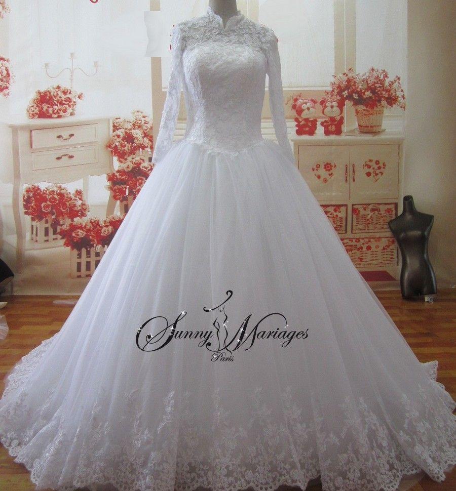 dfe40278f57 robe de mariee princesse en dentelle avec manche longue