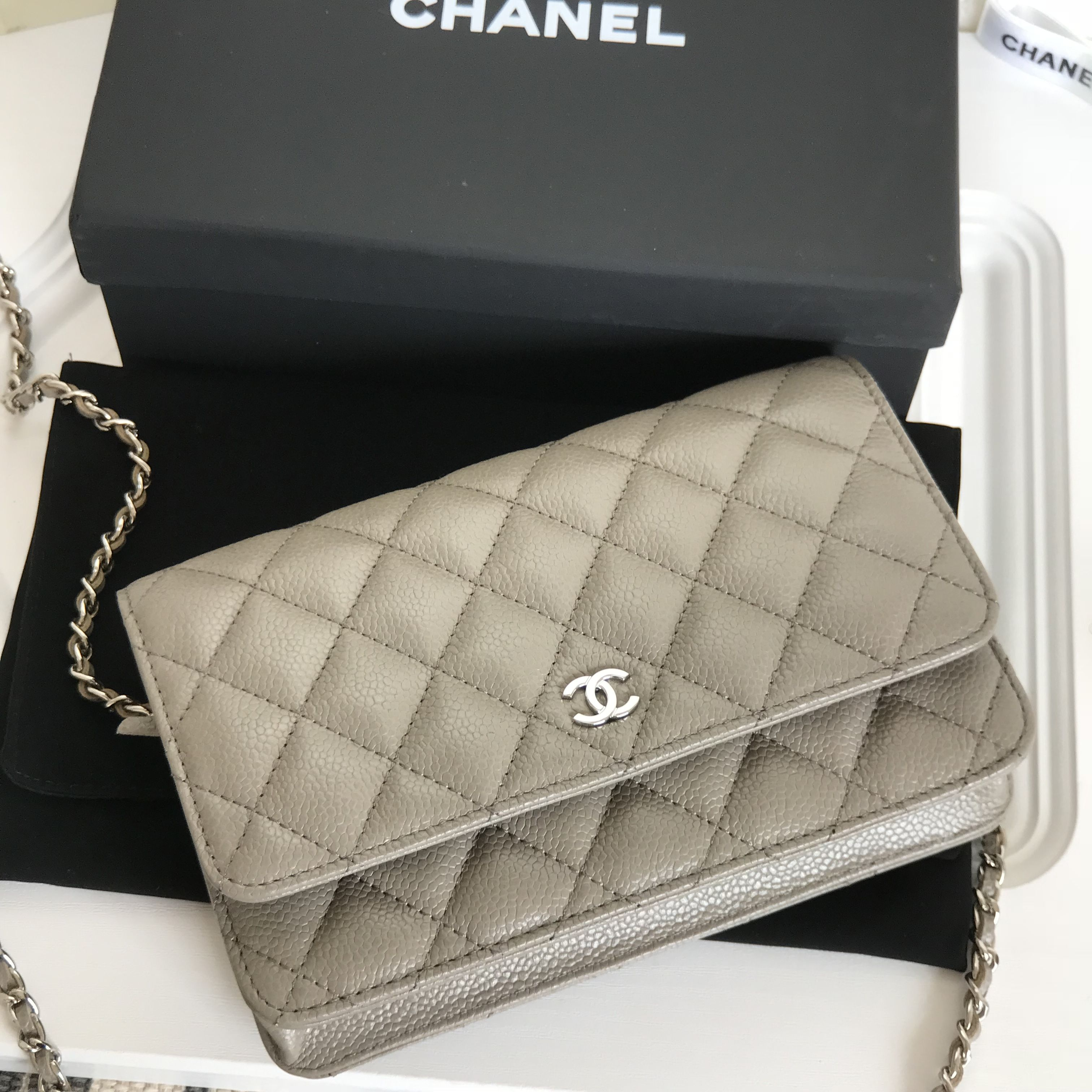 85bb79e21 Chanel gray caviar WOC wallet of chain original leather version ...