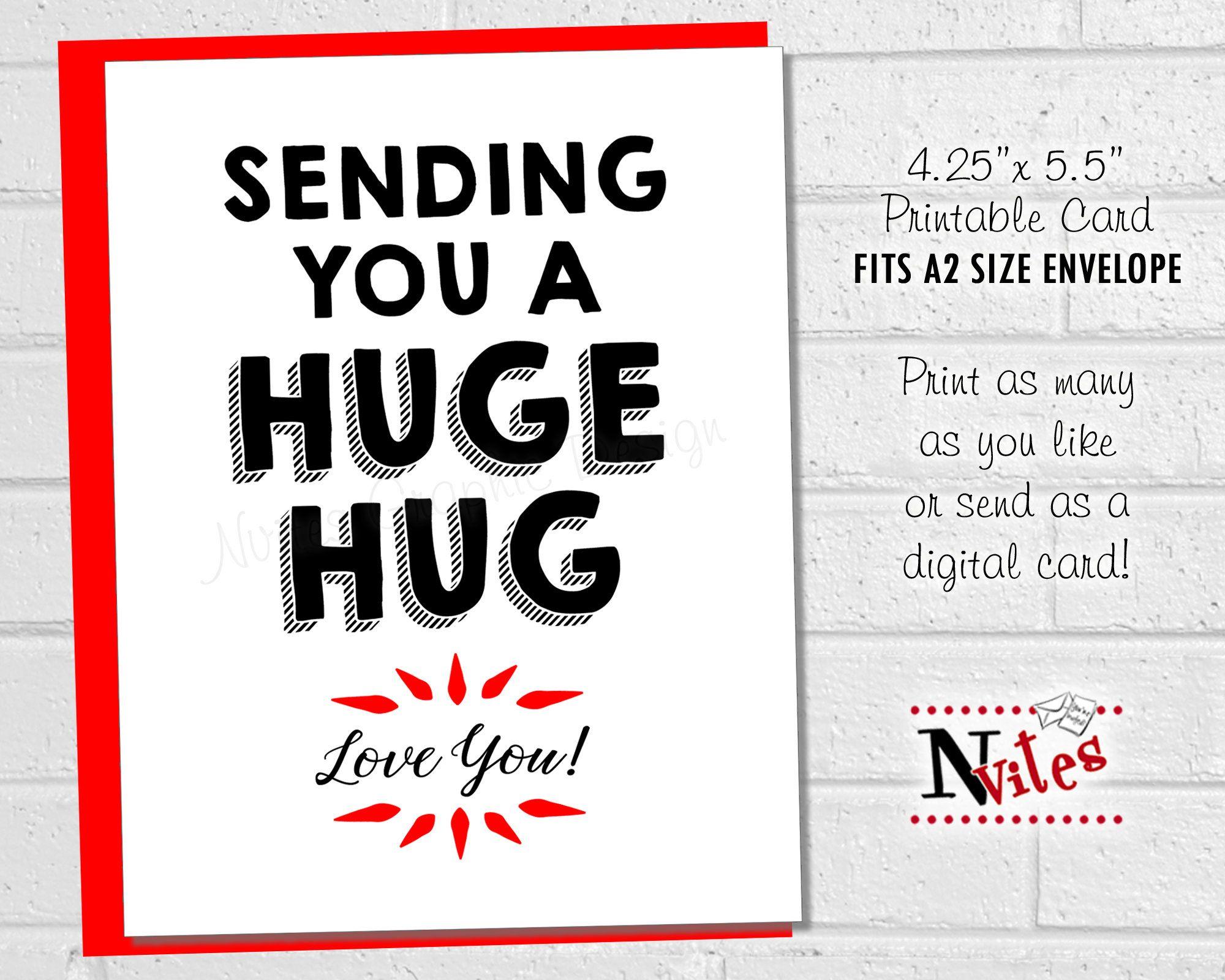 Hug Card, Sending You a Huge Hug, Get Well Card, Feel Good Card