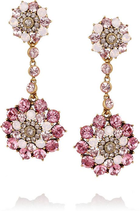 Oscar de la Renta 24 karat gold-plated Swarovski crystal clip earrings