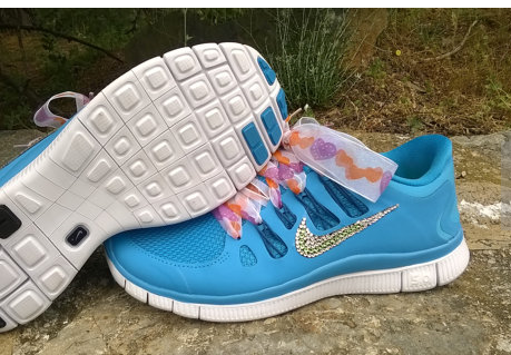 buy popular c0ea0 15f8c Over Half Off custom nike free 5.0 women run athletic shoes blue color  custom with crystal and green color swarovski and laces