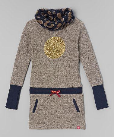Another great find on #zulily! Gray Pixel Glitter Circle Dress - Girls #zulilyfinds