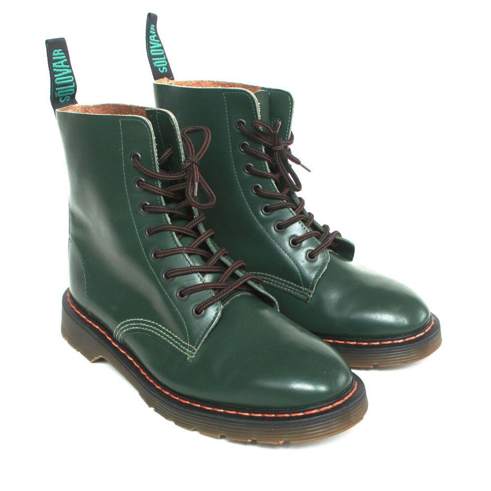 c7b1ce51cf86 Y S FOR MEN YOHJI YAMAMOTO X SOLOVAIR green 8-eye leather work boots  9-UK 10 NEW  YohjiYamamoto  WorkSafety