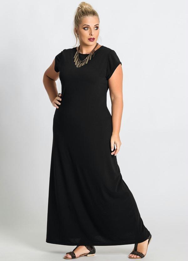 Vestido longo preto e branco basico