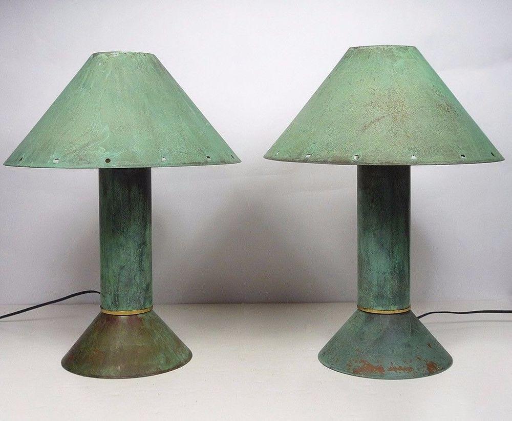 Pair Of Ron Rezek Verdigris Copper Table Lamps 80 S