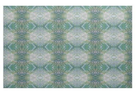 'Los Angeles' Green Gold & Turquoise Fabric