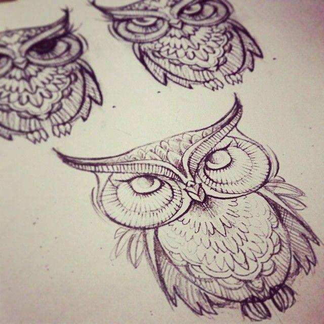 recherche tattoo du jour ! hibou coucou ! ] #draw #artecorpus