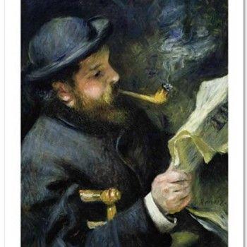 """""""Claude Monet Reading A Newspaper"""" – Fine Art Print by Renoir"""