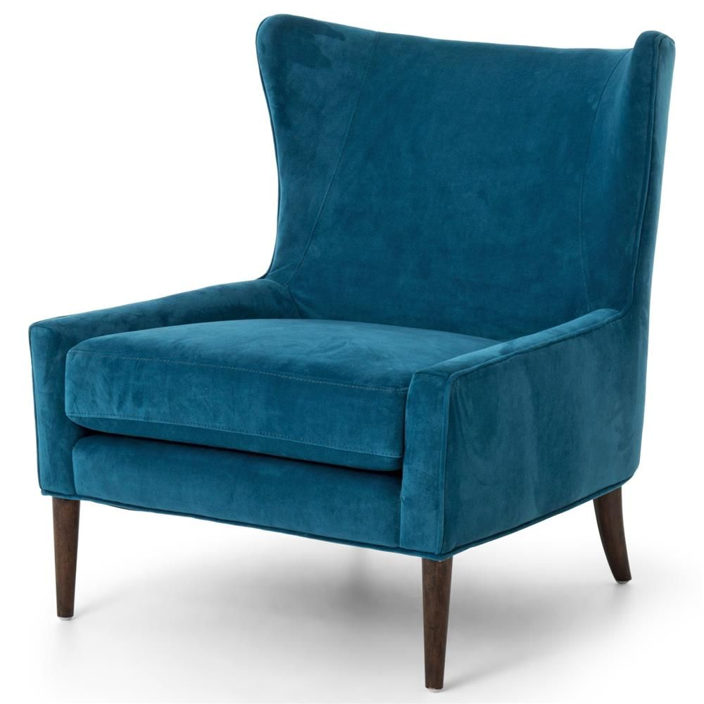Paola Mid Century Peacock Blue Velvet Wing Lounge Chair Blue
