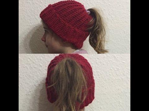 Tuto bonnet pour queue de cheval au crochet , YouTube