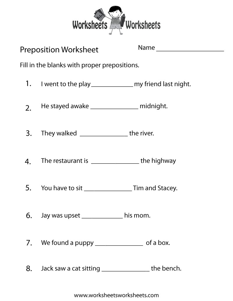 worksheet Spanish Prepositions Worksheet preposition test worksheet printable english pinterest printable