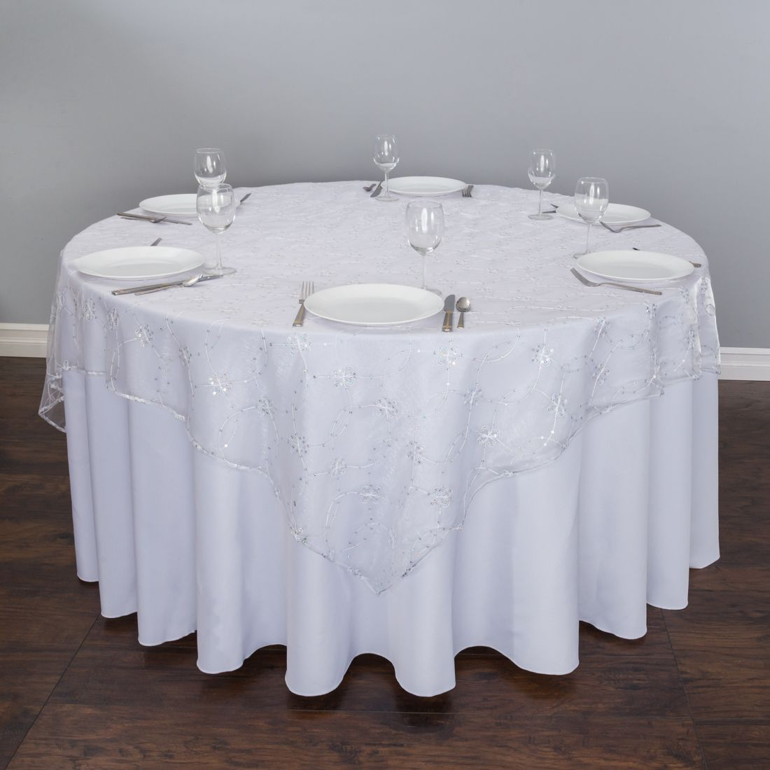 Sheer Table Toppers Feature Sequin Embellished Embroidered Flowers Perfect For Weddings Quinceaneras Sweet 16 Parties Baby Showers And Other Elegant