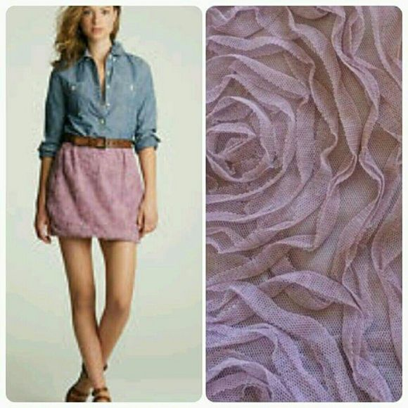 Lowest J. Crew Mini in pink with grey band Fully lined J Crew Mini with tulle rose desigins J. Crew Skirts Mini