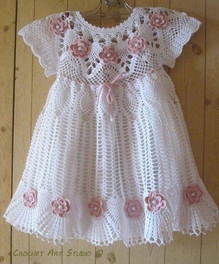 Vestido De Niña Crochet Encaje Rosas Mano Crochet Bautizo