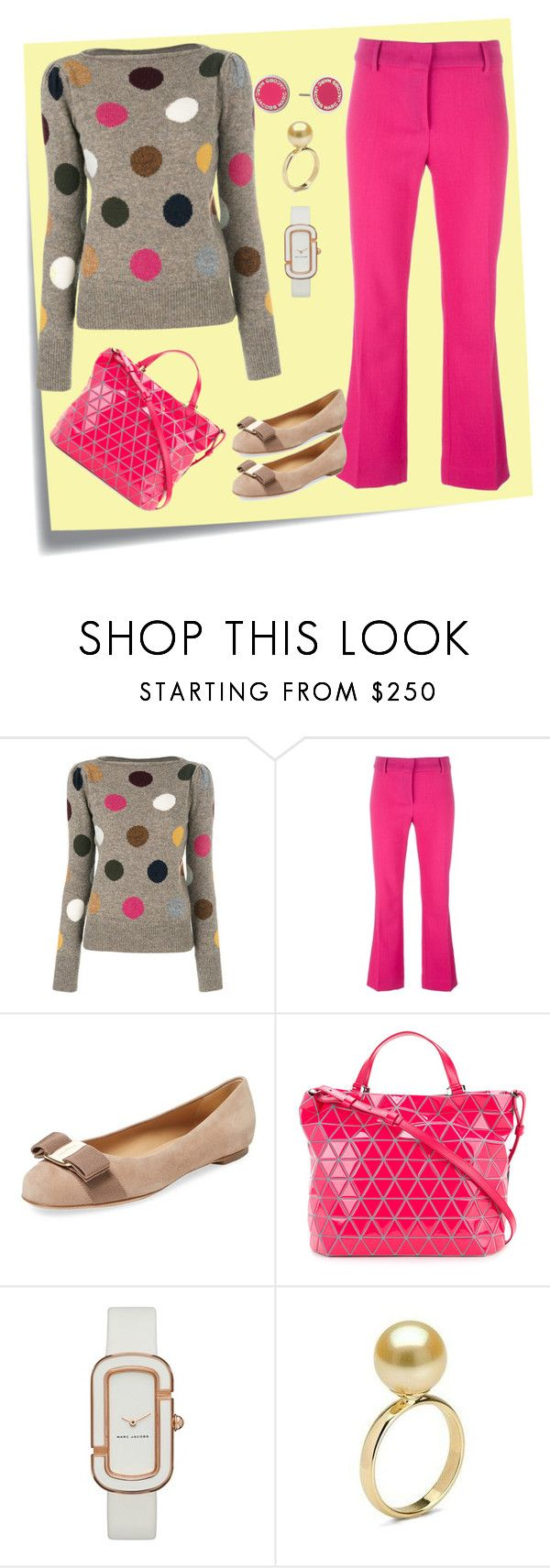 """Office Wardrobe"" by cynthiahawthorne ❤ liked on Polyvore featuring Post-It, Marc Jacobs, Cédric Charlier, Salvatore Ferragamo, Bao Bao by Issey Miyake and Marc by Marc Jacobs"