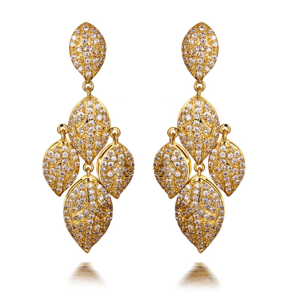 Find More Information About Vintage Women CZ Leaf Drop Wedding Party Earrings 18K Real Gold
