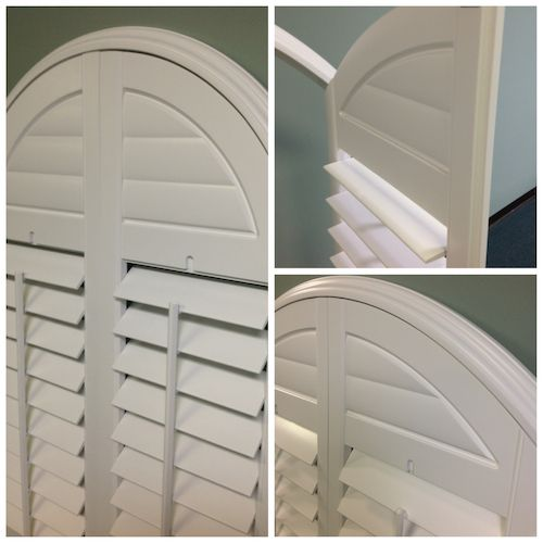 Post Oak Arch Shutters with Faux Louvers in the Arch - Great Arched Shutter look for economical price from Rockwood Shutters.