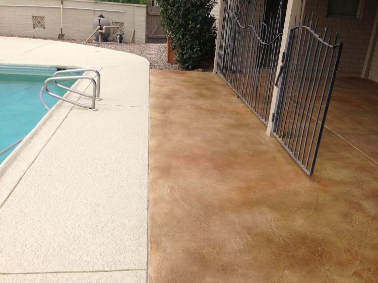 Stained Concrete Patio Overlay Installation And Pool Deck Addition In  Tucson, AZ By Arizona Concrete