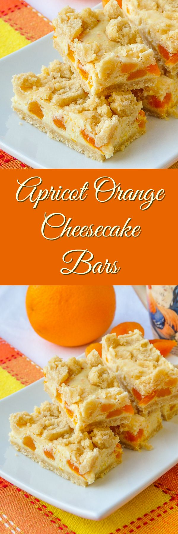 Apricot Orange Cheesecake Bars - a freezer friendly recipe with the delicious combination of dried apricots in a citrus flavored cheesecake surrounded by buttery shortbread crumble.