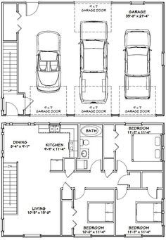 40x28 3 Car Garage 40x28g10i 1 136 Sq Ft Excellent Floor Plans