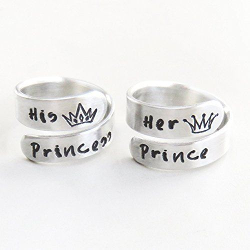 Her prince his princess promise rings - Couple Boyfriend girlfriend Valentine's gifts - Handmade crown tiara jewelry