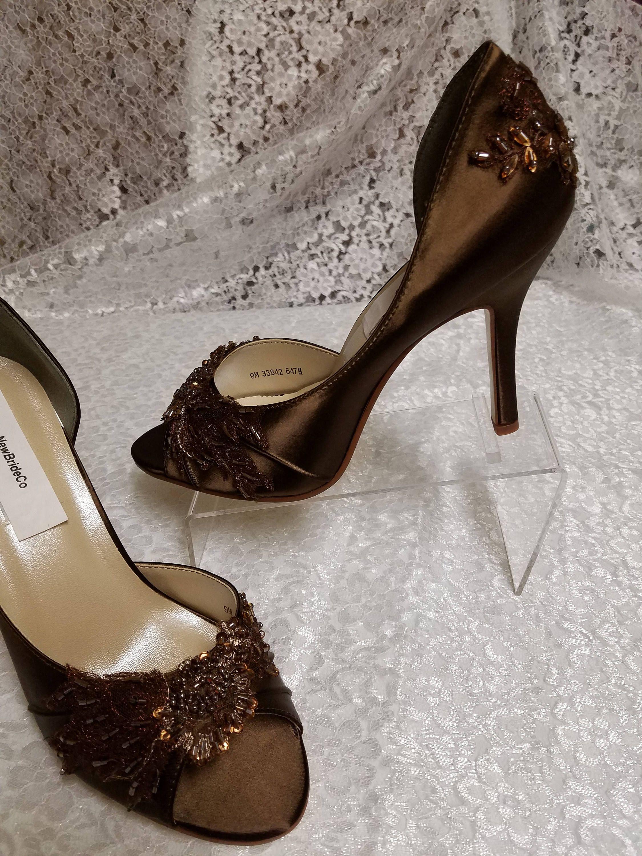 Brown Beaded Heels Enhanced Copper With Beaded Appliques Peep Toe