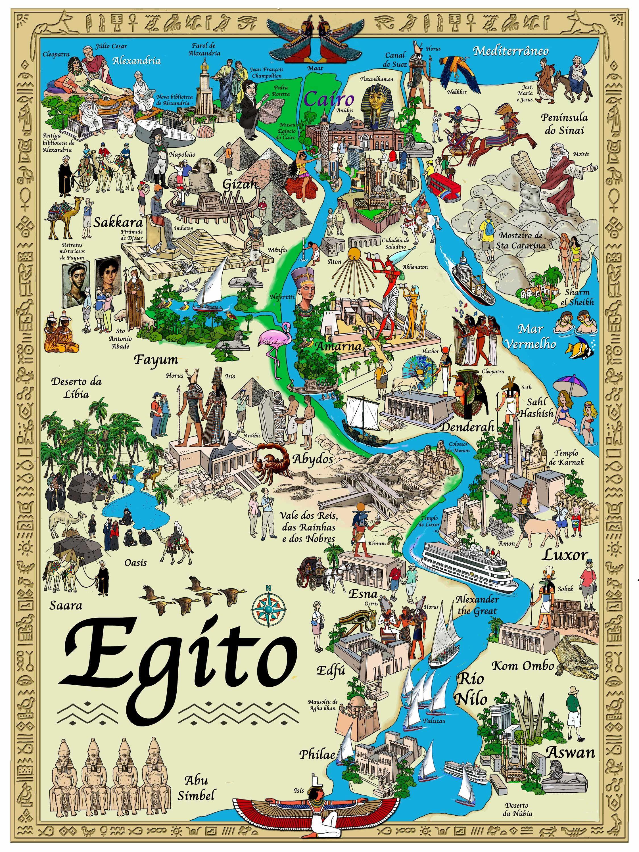 Mapa das principais cidades do Egito e representaes de