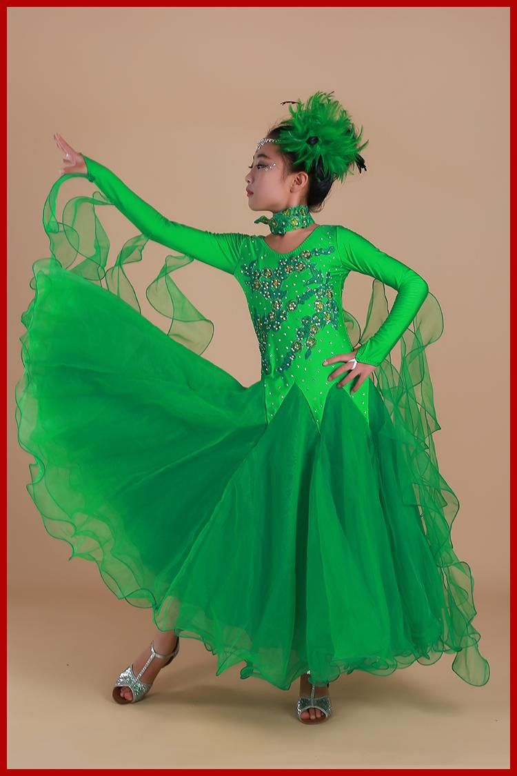 Beautiful Luxury Rhinestone Girls Embroidery Pendulum Standard Ballroom Dance Dress  Children Tango Flamenco Waltz Dance Competition Dress