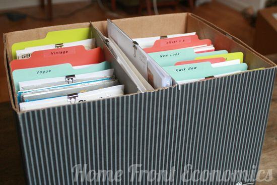 store patterns in a file box . . either bought to coordinate or ...