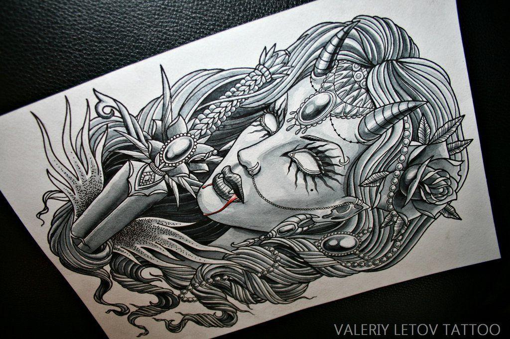 gothic girl tattoo sketch by valeriyletov 1024 682 plantillas pinterest desenhos. Black Bedroom Furniture Sets. Home Design Ideas