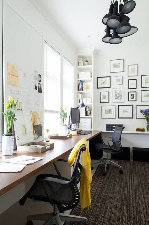stylish office. Stylish Office. Love The Gallery Wall And Lights. Office
