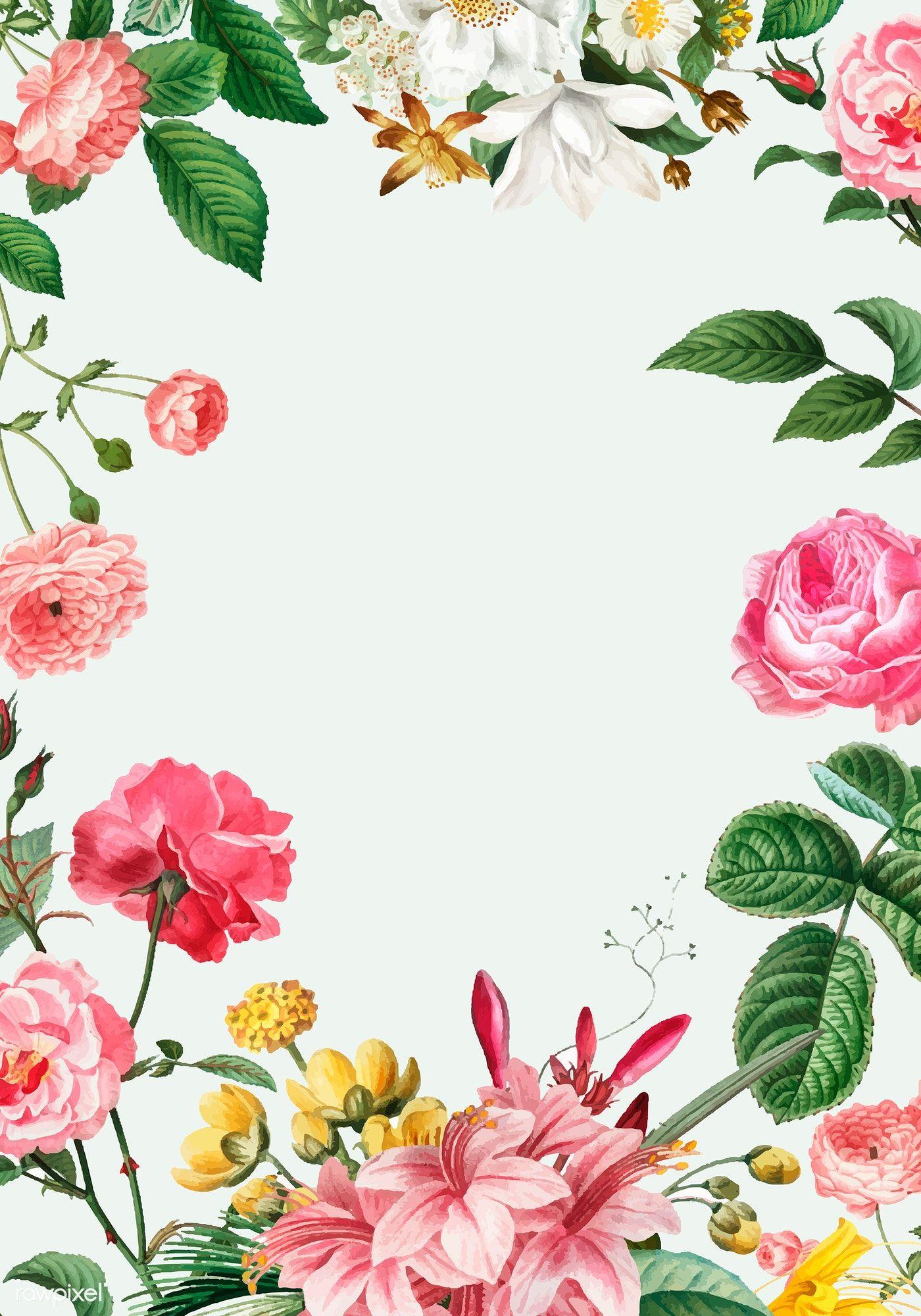 Vintage botanical frame design vector free image by