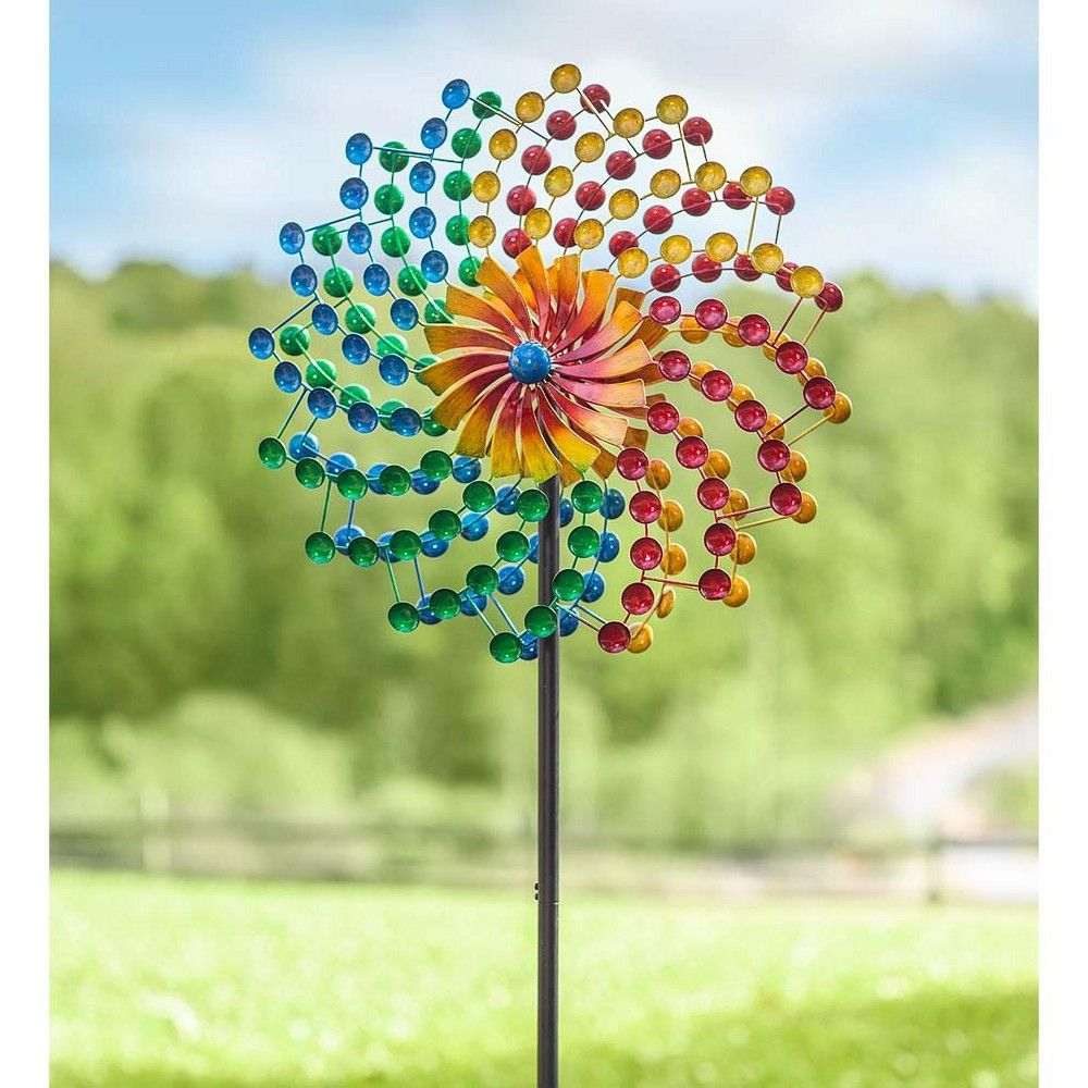 Lot of 2 Rainbow Wind Spinners For Your Garden Lawn Backyard!