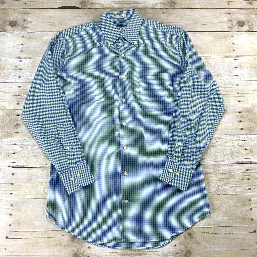 Peter Milllar Green / Blue Check Button Down Shirt Mens Size Small