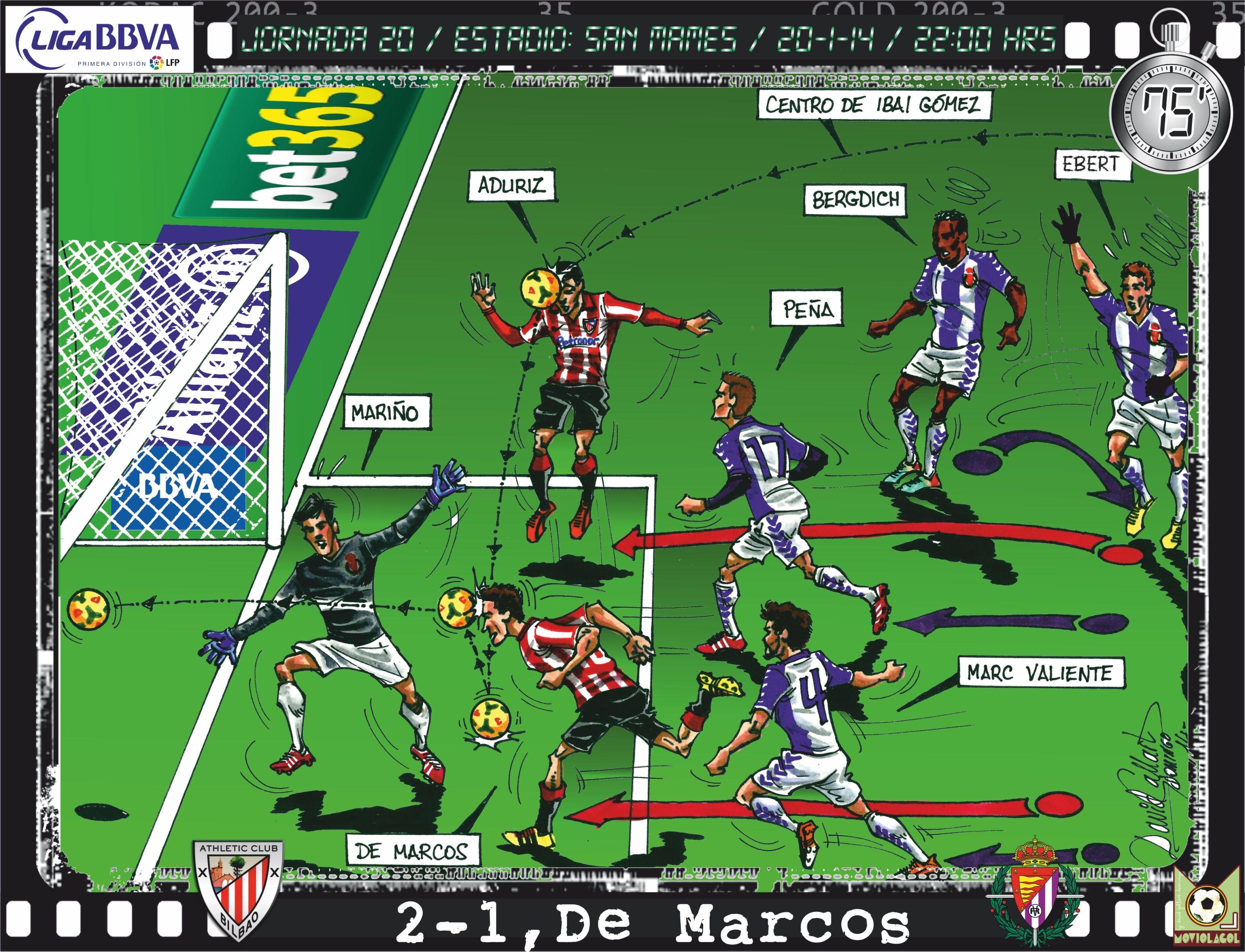 Athletic Club, 4 - Real Valladolid, 2 - Óscar De Marcos, 2-1, min.75'