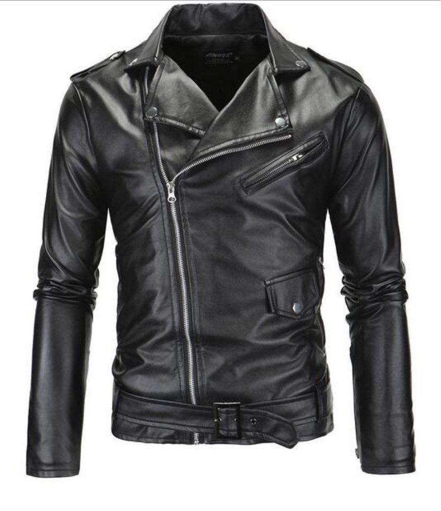 Sarriben Mens Causal Belted Design Slim Pu Leather Biker Zipper Jacket Coat -- Awesome products selected by Anna Churchill