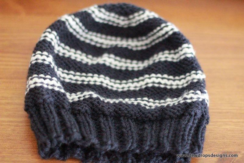 Free Knitting Pattern - Hats: Blue and White Men\'s Hat | Knitting ...