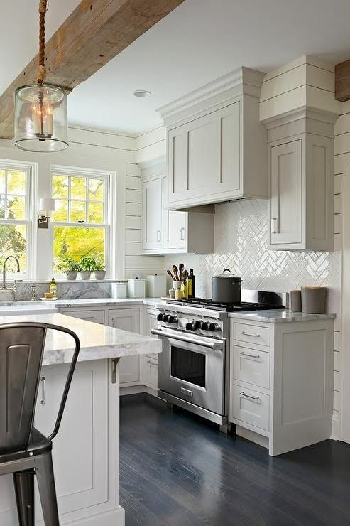 Light Gray Shaker Kitchen Cabinets With Glossy White Herringbone - Light gray shaker kitchen cabinets