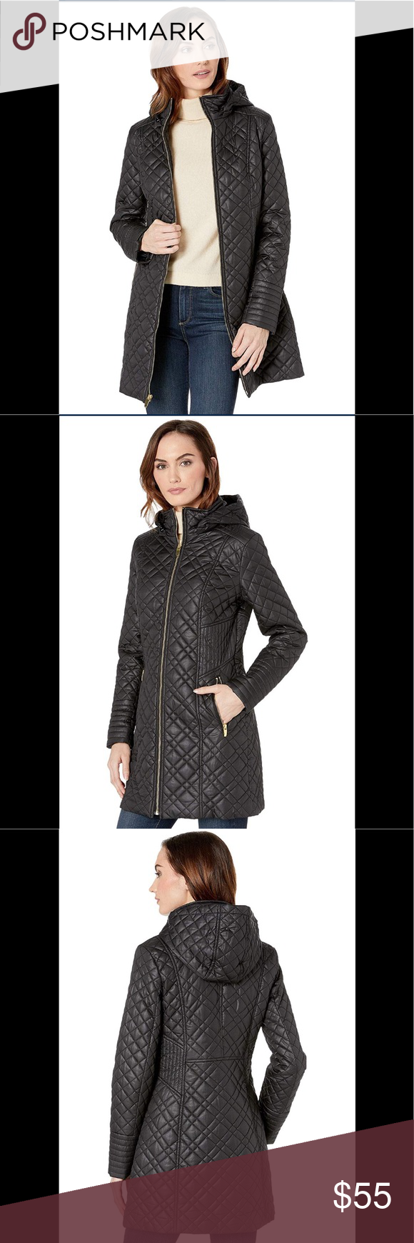 7d6a682d88a Via Spiga Women's Center Zip Diamond Quilt black Description Hooded stand  collar center zip diamond quilt with tassel zip Features & details 100%  Polyester ...