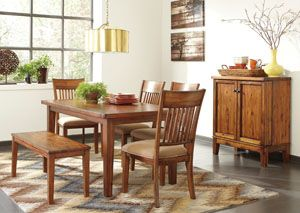 Goreeu0027s Furniture   Opelika, AL Shallibay Rectangular Dining Table W/ Bench  U0026 4 Side