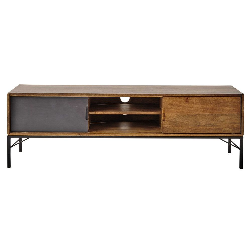 Porta Tv In Mango E Metallo Nero Tv Unit Woods And Living Rooms # Meuble Tv Gris Mat