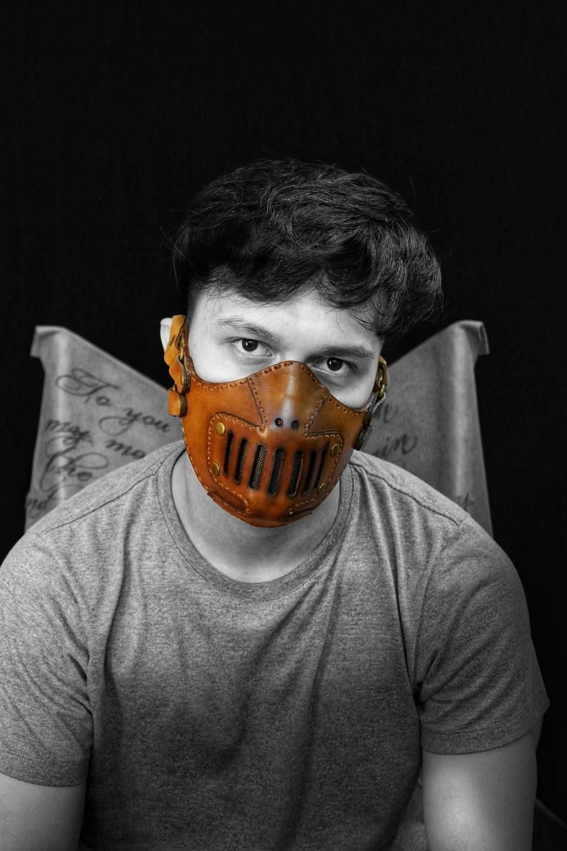 Hannibal Inspired Leather Mask w Filters and Pocket
