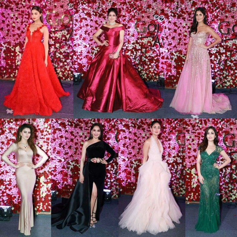 Bollywood Actress On Red Carpet For Lux Golden Rose Awards Party Gowns Bridesmaid Dresses Gowns