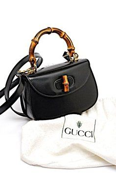 74895c6330cb 2way Bamboo Handle Mini Hand Vintage Italy Black Leather Cross Body ...