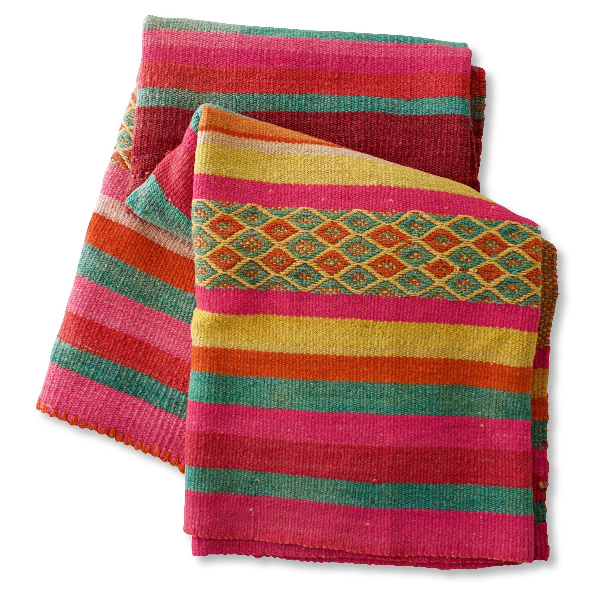 Peruvian Frazada Style Wool Rug Blanket Bright Bold